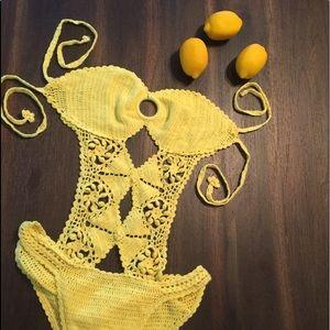 yellow crochet monokini scrunch butt large